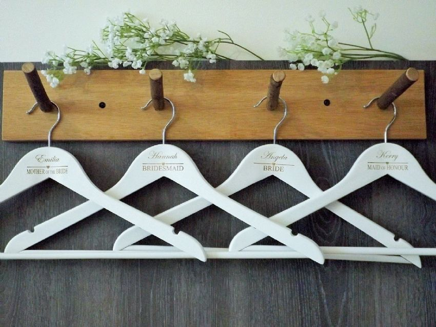 Personalised White Wooden Wedding Hangers Set of 7 - Heart